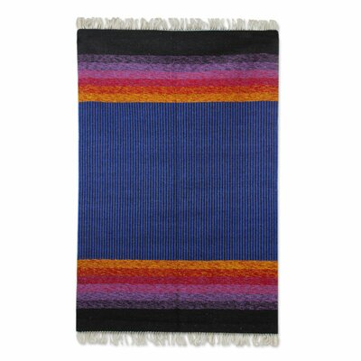 Hand-Loomed Blue Area Rug