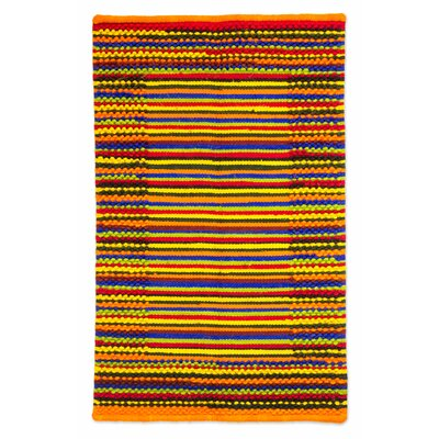 Hand-Woven Orange/Yellow Area Rug
