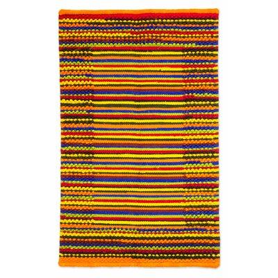Hand-Woven Orange/Yellow Area Rug