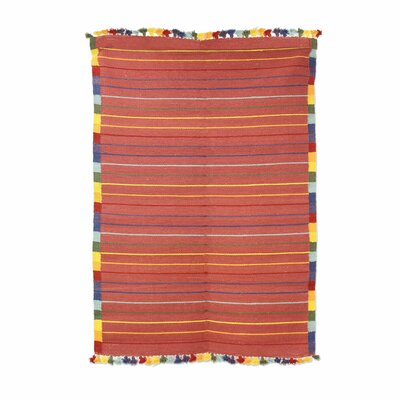 Hand-Loomed Orange Area Rug