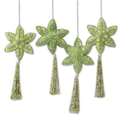 Holiday Message Handmade Beaded Sequin Christmas Ornament