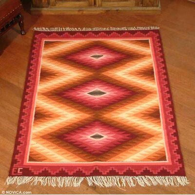 Hand-Woven Red/Orange Area Rug
