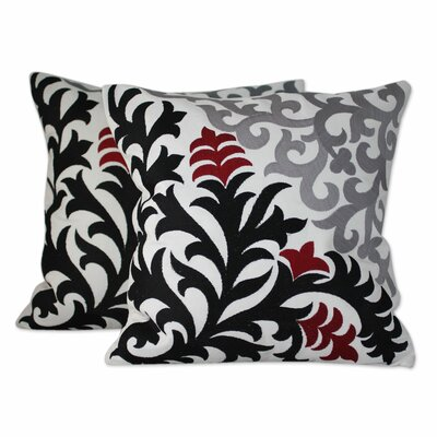 Heliconia Shadow Floral Embroidered Cotton Pillow Cover