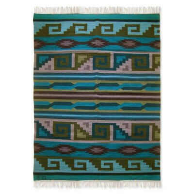 Artisan Crafted Geometric  Pacific Nights Expertly Hand Woven South American Naturally Dyed Wool Home Decor Blue Area Rug
