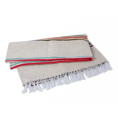 Huaura Fiesta Handwoven with Stripes Wool Throw Blanket