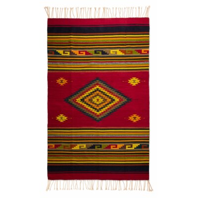 Weare Hand Woven Wool Red/Golden Area Rug