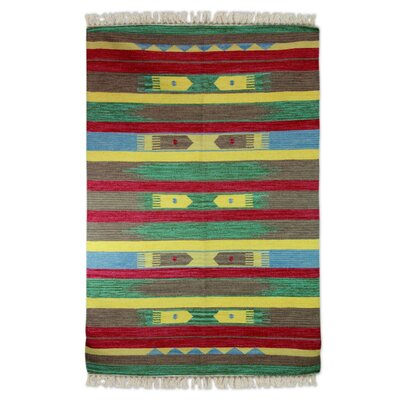 Hand-Loomed Green/Brown Area Rug