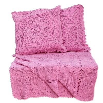 3 Piece Jaipur Cotton Throw and Pillow Cover Set Color: Orchid