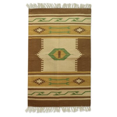 Hand-Loomed Brown/Beige Area Rug