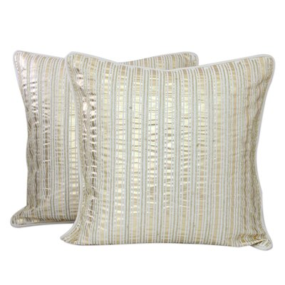 Parallels Beadwork Cotton Pillow Cover
