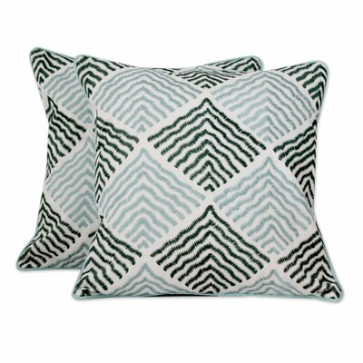 Jade Vibrations with Embroidery Cotton Pillow Cover 245730