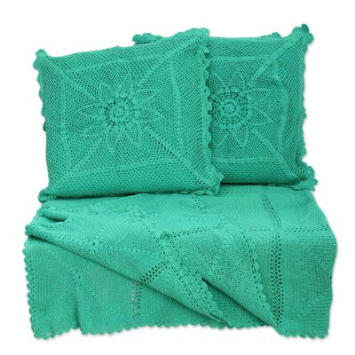 3 Piece Jaipur Cotton Throw and Pillow Cover Set Color: Mint Crocheted