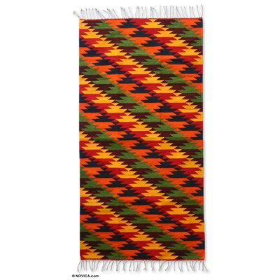 Weare Hand Woven Wool Red/Yellow/Green Area Rug