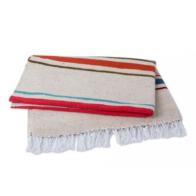 Huaura Horizon Handwoven with Stripes Wool Throw Blanket