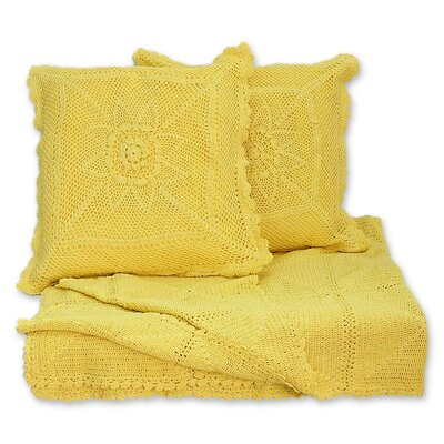 3 Piece Jaipur Cotton Throw and Pillow Cover Set Color: Sunshine