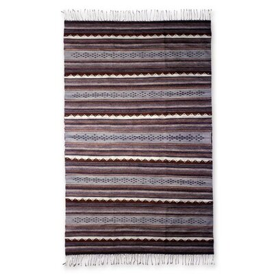 Weare Hand Woven Wool Brown Area Rug