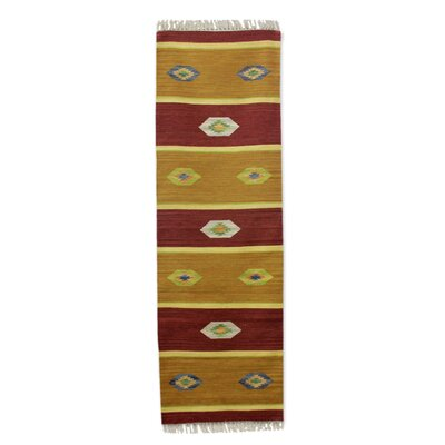 Hand-Woven Red/Golden Area Rug