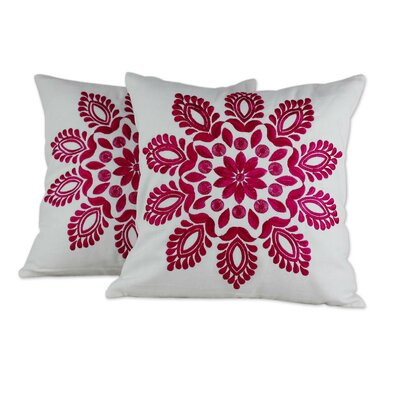 Delhi Splendor Embroidered Floral Cotton Pillow Cover