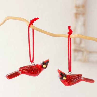 2 Piece Cardinal Fair Trade Ceramic Bird Ornament Set