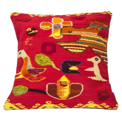 Bird Dance Hand Crafted with Bird Motif Wool Pillow Cover