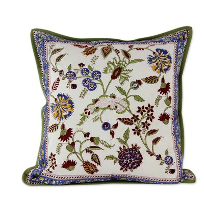 Sonik Sethi Indian Block Print Floral Motif Cotton Throw Pillow Cover