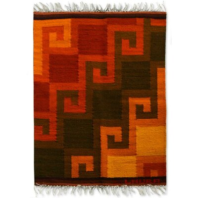 Fair Trade Vibrantly Multicolored Geometric Fiery Hills Expertly Hand Woven South American Wool Home Decor Area Rug Rug Size: Rectangle 2 x 26