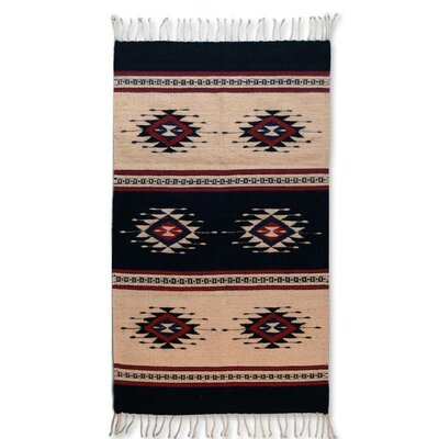 Artisan Crafted Unique Geometric  Sixth Sun Hand Woven Mexican Naturally Dyed Wool Home Decor Area Rug