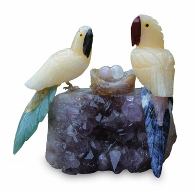 Macaw Family Calcite and Amethyst Figurine 214719