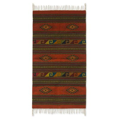 Weare Hand-Woven Brown/Orange Area Rug