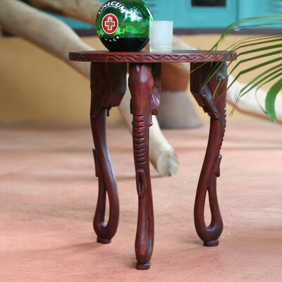 Elephants Wood End Table