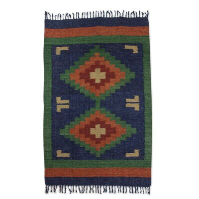 Hand-Loomed Blue/Green Area Rug Rug Size: Rectangle 4 x 6
