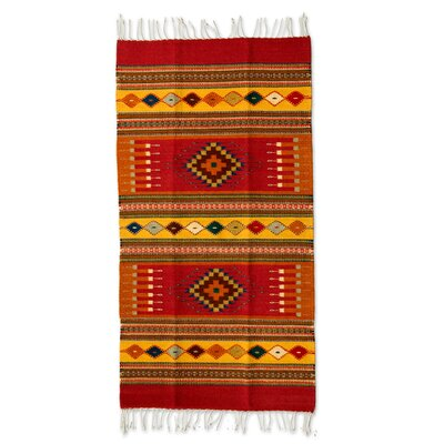 Zapotec Hand-Woven Red/Orange Area Rug