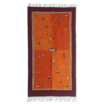 Zapotec Hand-Woven Orange Area Rug