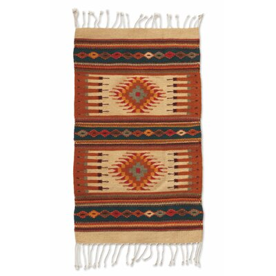 Weare Hand-Woven Orange/Beige Area Rug