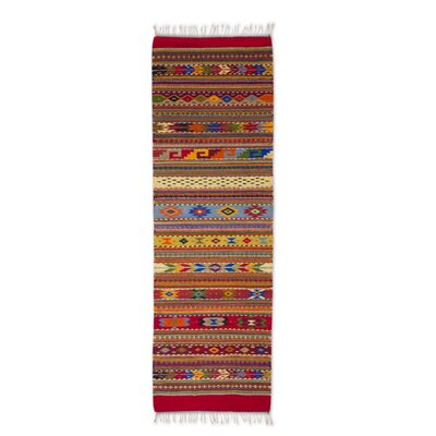 Weare Hand-Woven Red/Orange/Blue Area Rug