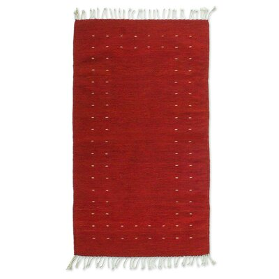 Weare Hand-Woven Red Area Rug