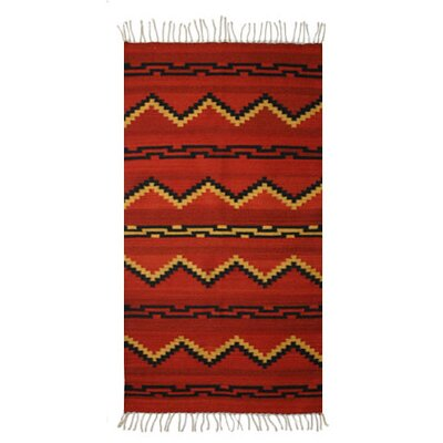 Zapotec Hand Woven Red Area Rug Rug Size: 27 x 411