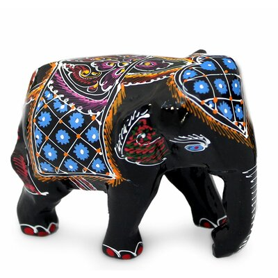 Young Elephants Lacquered Wood Figurine 190422