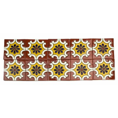 4.1 x 4.1 Ceramic Mosaic Tile in Yellow and Terracotta