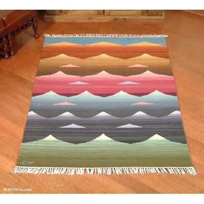 Artisan Crafted Multicolor Nature Inspired Hand Woven South American Naturally Dyed Wool Home Decor Area Rug