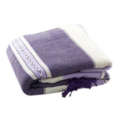 Zapotec Lavender Warmth Cotton Bedspread