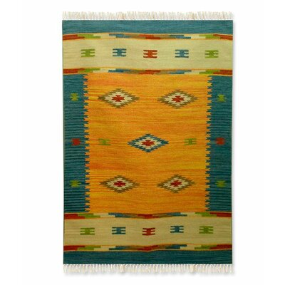 Hand-Woven Yellow Indoor Area Rug