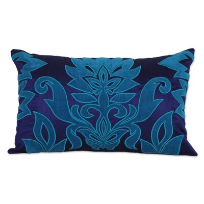 Sapphire Grandeur Applique Pillow Cover