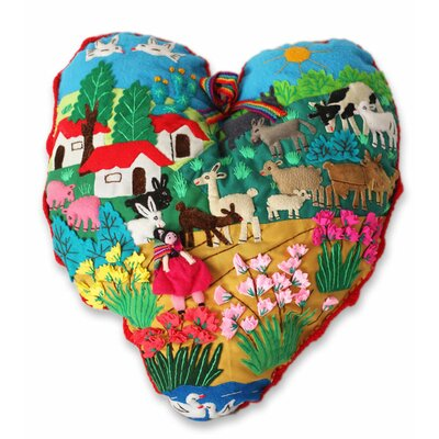 I Love Our Andean Farm Applique Throw Pillow
