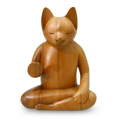 Blessing Cat Wood Figurine 182529