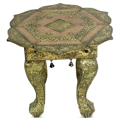 Golden Lotus Brass End Table