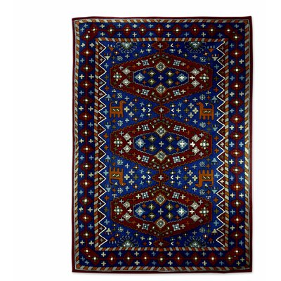 Hand-Woven Blue/Red Area Rug