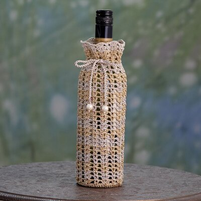 Crocheted 1 Bottle Tabletop Wine Bottle Rack