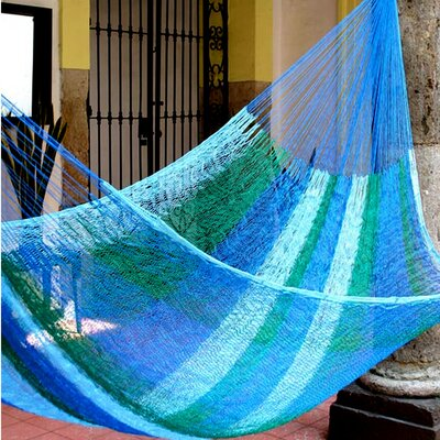 Mayan Single Nylon Camping Hammock Color: Sea Breeze