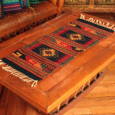 Artisan Crafted Unique Geometric Two Windows Expertly Hand Woven Mexican Wool Home Decor Area Rug